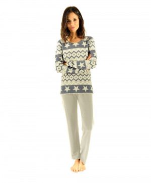 Pyjama femme Snow Collection homewear Christian Cane Gris et nacre