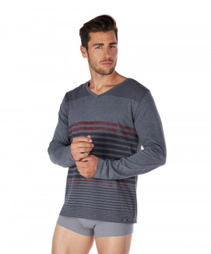 T shirt Manches Longues Collection Sleepwear Skiny Men Stone Grey Stripe