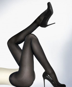 Collants Satin Opaque 50 Tights Noir Collants et Bas Wolford Face 18379